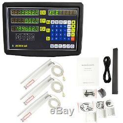 3 Axis Digital Readout+ 3 Scale Kit For Milling Lathe Machine Precision Linear