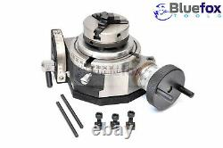 4 /100mm Rotary Table Tilting With 3 Jaw 65mm Mini Lathe Chuck Milling Machine