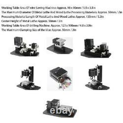 6 in 1 Lathe All Metal Combine Machine Tool High Power 60W US PLUG 100-240V Hot