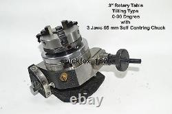 HEAVY DUTY ROTARY TABLE 3 with 65mm LATHE CHUCK FOR MILLING MACHINES