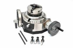 Rotary Table 4 /100mm Tilting With 65mm Mini Lathe Chuck For Milling Machine