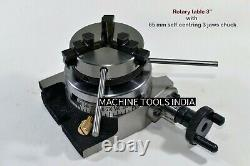 Rotary Table Horizontal & Vertical 3/75mm with65mm Lathe Chuck for Milling Machin