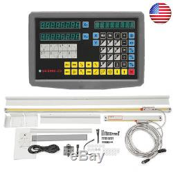 US 2 Axis Digital Readout TTL Linear Scale For Electronic Milling Lathe Machine